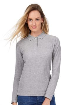Polo femme ID.001 manches longues gris