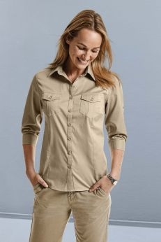 Chemise femme manches 3/4 twill roll up