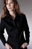 Chemise serveuse femme manches longues noir