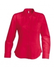 Chemise serveuse femme manches longues rouge