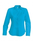 Chemise serveuse femme manches longues turquoise