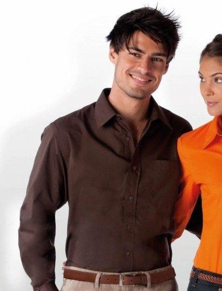 Chemise serveur homme manches longues marron