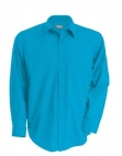 Chemise serveur homme manches longues turquoise