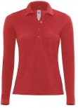 Polo safran femme manches longues rouge