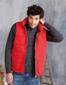 Bodywarmer matelassé multipoches rouge