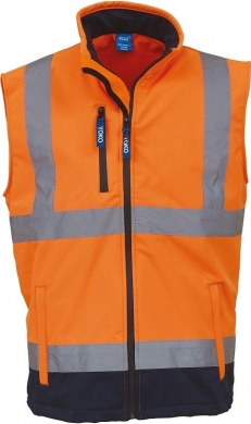 Bodywarmer softshell haute visibilité orange marine YOKO